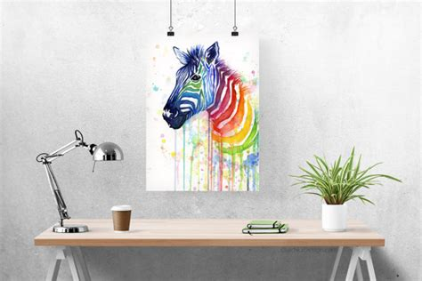 zebra print home decor 28 images paint your day with zebra art watercolor painting art print rainbow zebra ode