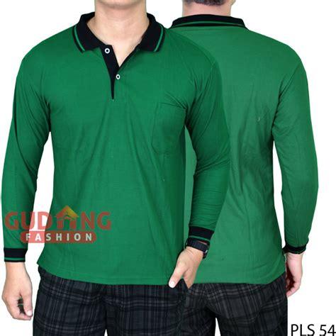 Kaos Hijau Pria kaos polo panjang terbaru pria lacost pe hijau fuji kerah