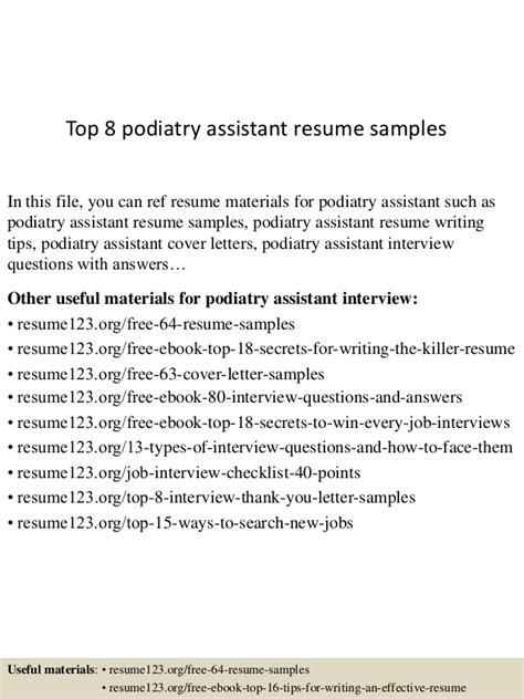 Podiatry Assistant Sle Resume by Top 8 Podiatry Assistant Resume Sles