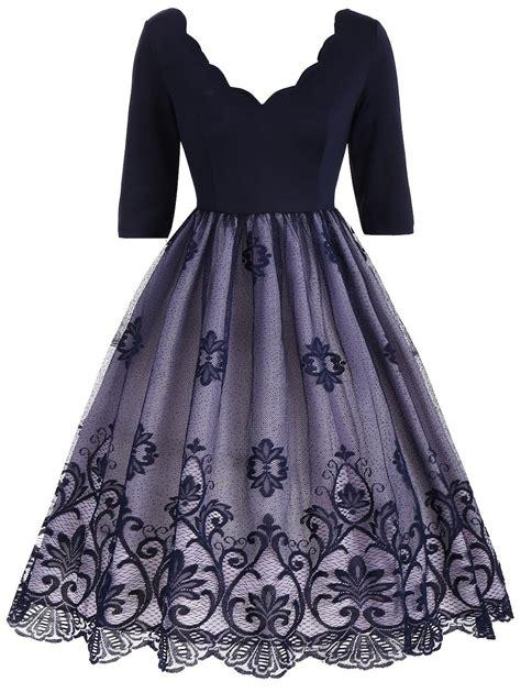 Dress Brokat Flowers Antiiqa 1 blue 2xl v neck floral lace panel vintage dress rosegal