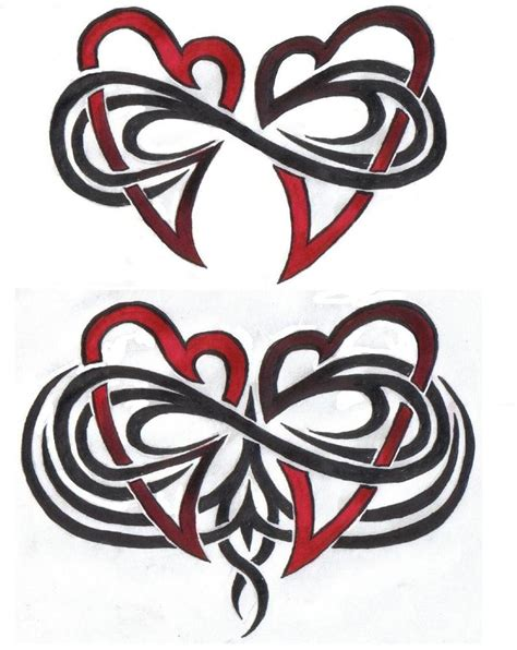 double heart tattoo designs infinity