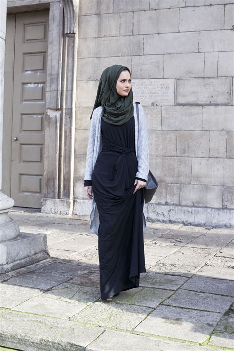 Jumpsuit Dress Maxi Wanita Modern Kami Abu Hitam Toska Xl how to style with cardigan moeslema