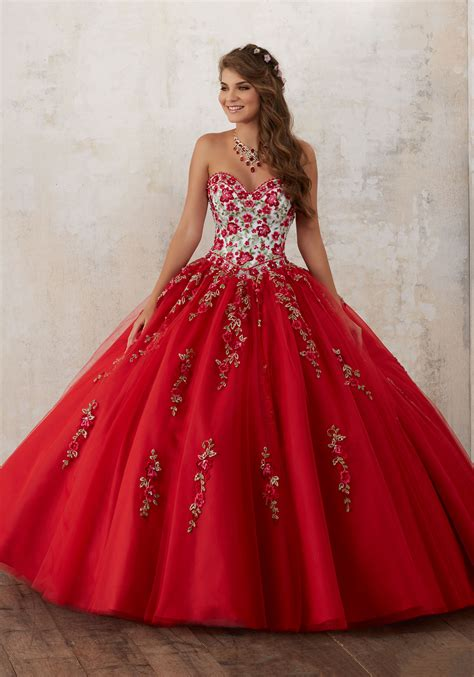 Dress La beading on a tulle quincea 241 era gown style 60014