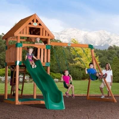 outdoor kids swing set backyard odyssey trek all cedar swingset modern
