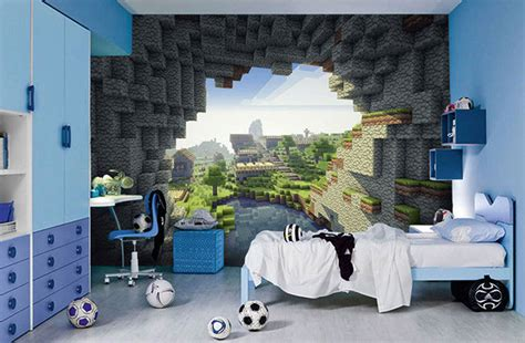 murals for bedrooms minecraft wall murals