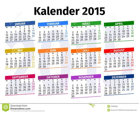 printable calendar 2015 germany german calendar 2015 stock illustration image of