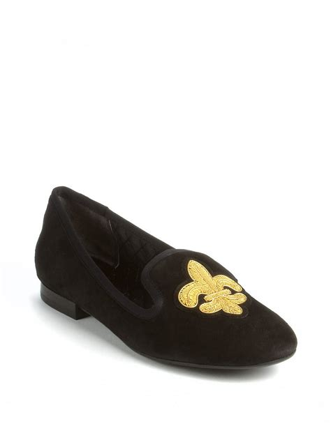 nine west leyna suede flats in black lyst