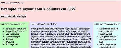 layout liquido css como criar um layout de 3 colunas com css