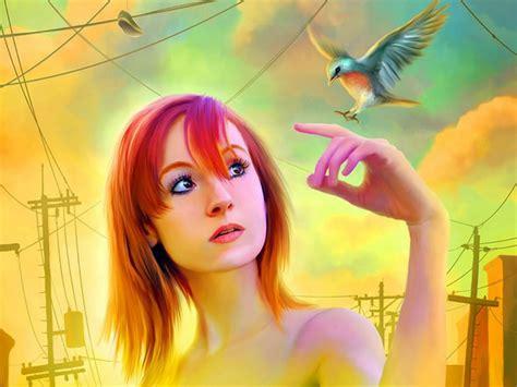 wallpaper her 3d 3d girl with her bird 4k ultra hd pc wallpaper hd wallpapers