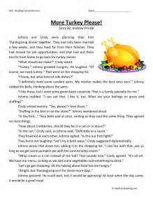 thanksgiving reading passages reading comprehension worksheet more turkey please