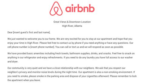 download the airbnb welcome letter template as airbnb