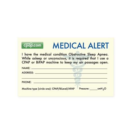 free printable medical id cards cpap com cpap com sleep apnea medical alert wallet card