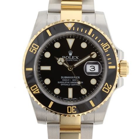 old u boat watches rolex submariner black dial steel and 18kyg 40mm black