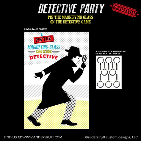 printable detective games detective party printable pin the magnifying glass on the