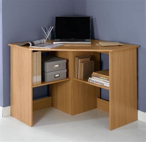 Oak Effect Corner Desk New Fraser L Shape Corner Computer Desk With 2 Shelves Oak Effect Ebay