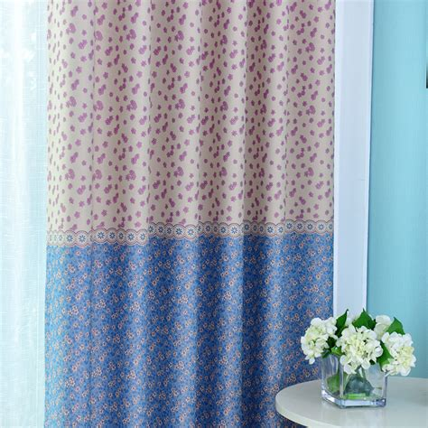 Blue And White Floral Curtains Modern White And Blue Floral Printed Blackout Window Curtains