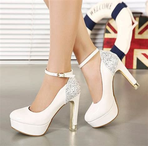 Comfortable White Heels glitter ankle white heels wedding shoes