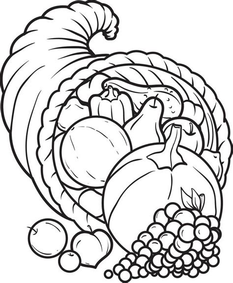 cornucopia coloring pages preschool image gallery printable cornucopia