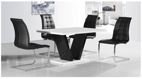 White Dining Tables And Chairs White Black High Gloss Dining Table 4 Chairs Set Homegenies