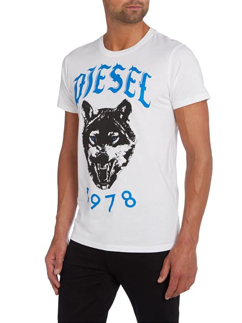 diesel t roff wolf 1978 graphic t shirt in white for