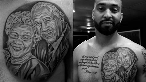matt kemp has a tattoo of his grandparents on his chest