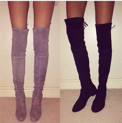 black suede the knee thigh high flat boots boot hto