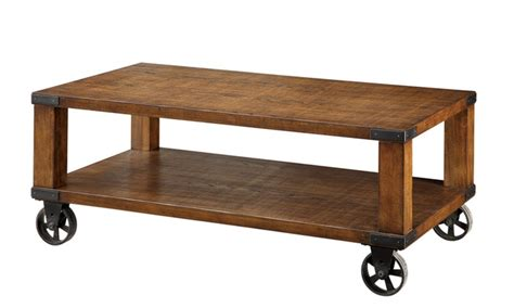 Caster Wheel Coffee Table Weston Oak Industrial Design Caster Wheel Coffee Table Groupon