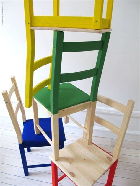 stuhl ivar ivar pine chairs half painted in brilliant basic colours