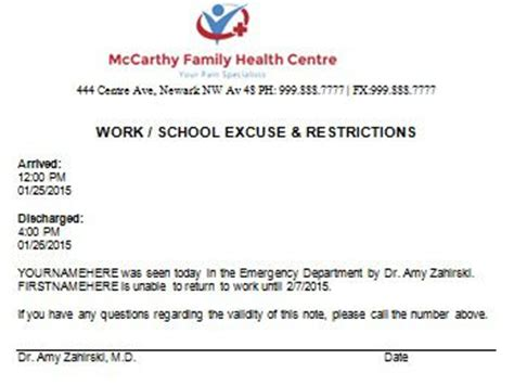 Excuse Letter Check Up work school excuse doctors note doctors note for work