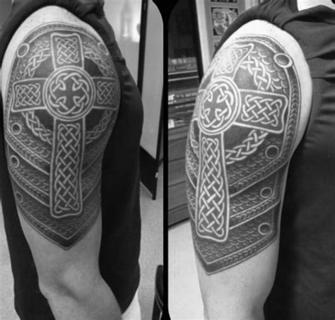 half sleeve cross tattoos for men 100 celtic cross tattoos for ancient symbol design ideas