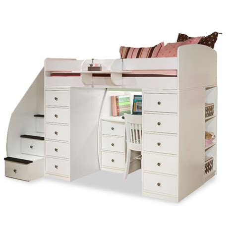 twin loft bed with desk and storage berg sierra twin space saver loft bed with desk and
