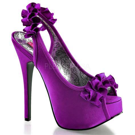 bordello tee56 ppsa purple satin platform ruffle