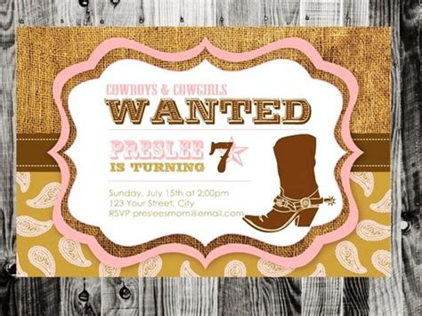 cowgirl birthday invitations templates ideas all