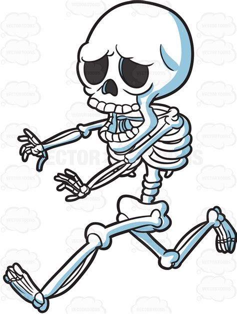 skeleton clipart a skeleton running away in horror clipart