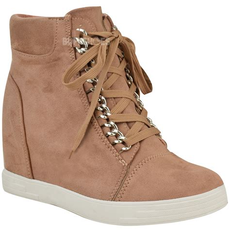 womens mid heel wedge high top ankle trainers lace
