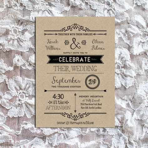 rustic wedding invite template vintage rustic diy wedding invitation template