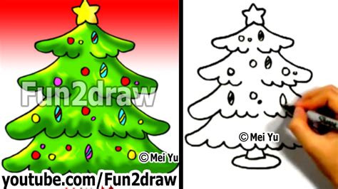how to draw a christmas tree in 1 min how to draw easy