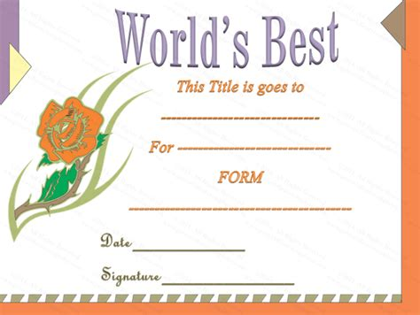 classic world s best award certificate template