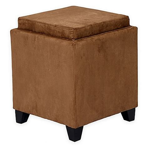 Orlando Microfiber Storage Ottoman Bed Bath Beyond Bathroom Ottoman Storage