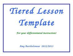 tiered lesson plan template 1000 images about differentiated ideas on