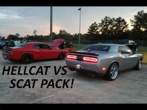 2015 hellcat vs scat pack 1/8 mile 2 runs youtube