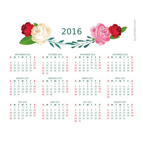 year flowers  beauty calendar   ezcalendars