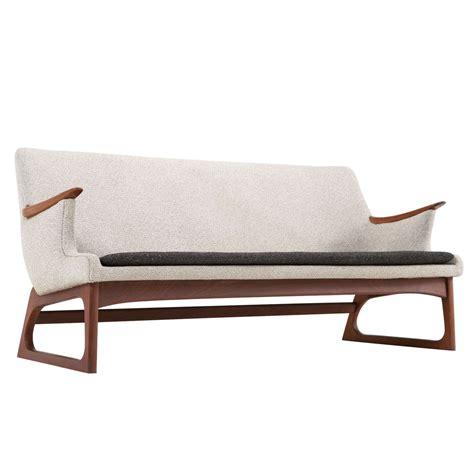 dynamic upholstery dynamic shaped danish skater sofa with teak sled base