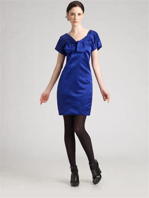 Designer Potw Marc Silk Dress by Marc Silk Cocktail Dress In Blue Royal Blue Lyst