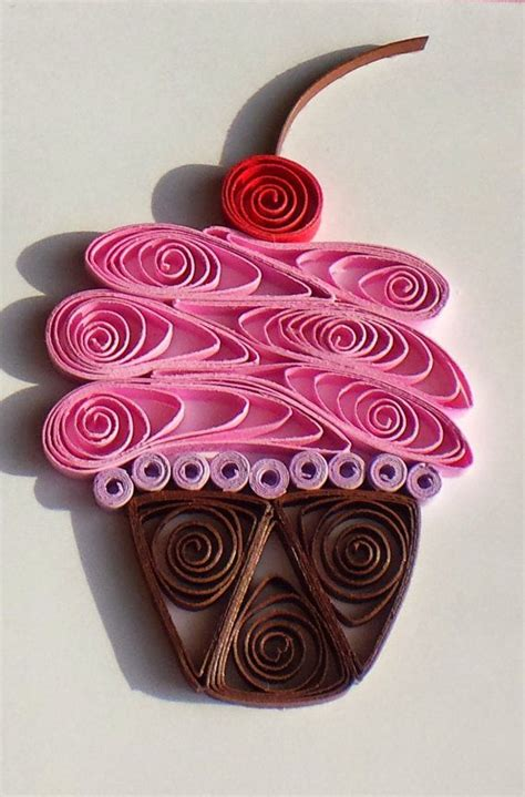 Quilling Decorations by Quilled Paper Greeting Card Pink Cupcake On White A2