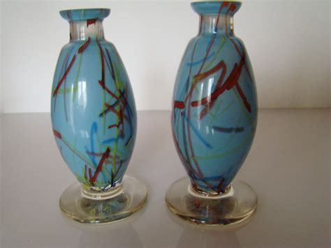 Bohemian Vases by Pair Of Bohemian Peloton Glass Vases Collectors Weekly