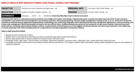 Manufacturing Consultant Cover Letter by Oracle Erp Manufacturing Functional Consultant Cover Letter Resume
