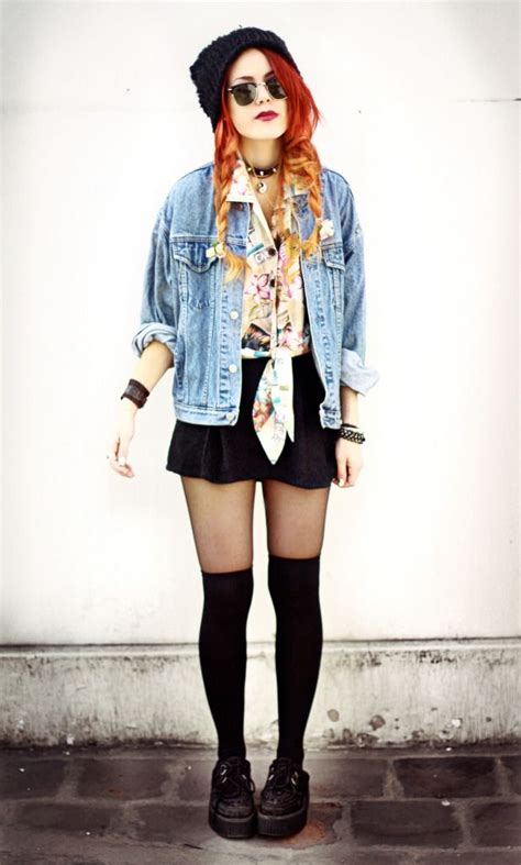 outfits with knee high socks skirt punky denim jacket with a bold print tie off blouse