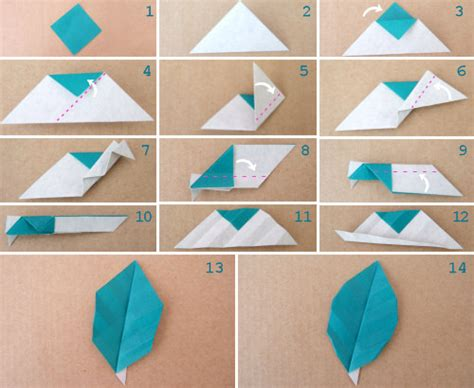 Origami Craft Projects - paper crafts origami leaf with or without veins tutorial