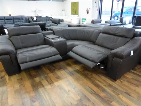 Sectional Sofas With Electric Recliners Bianco Brown Italian Leather Electric Reclining Corner Sofa Furnimax Brands Outlet